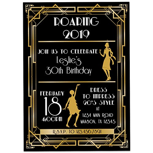 Image Unavailable. Image not available for. Color: 1920s Birthday Invitation ...