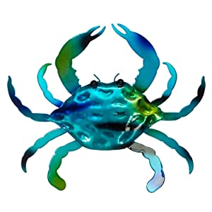 "Crab Wall or Table Decor - 3D Metal Design - Hand-Painted - 14"" x 12"" - Modern Home Decoration - Indoor or Outdoor Use – Contemporary Home Decoration in Coastal Style"