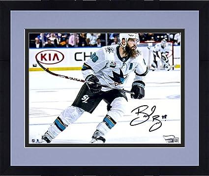 "33291f7dc Framed Brent Burns San Jose Sharks Autographed 8"" x 10"" White  Jersey Skating Photograph"