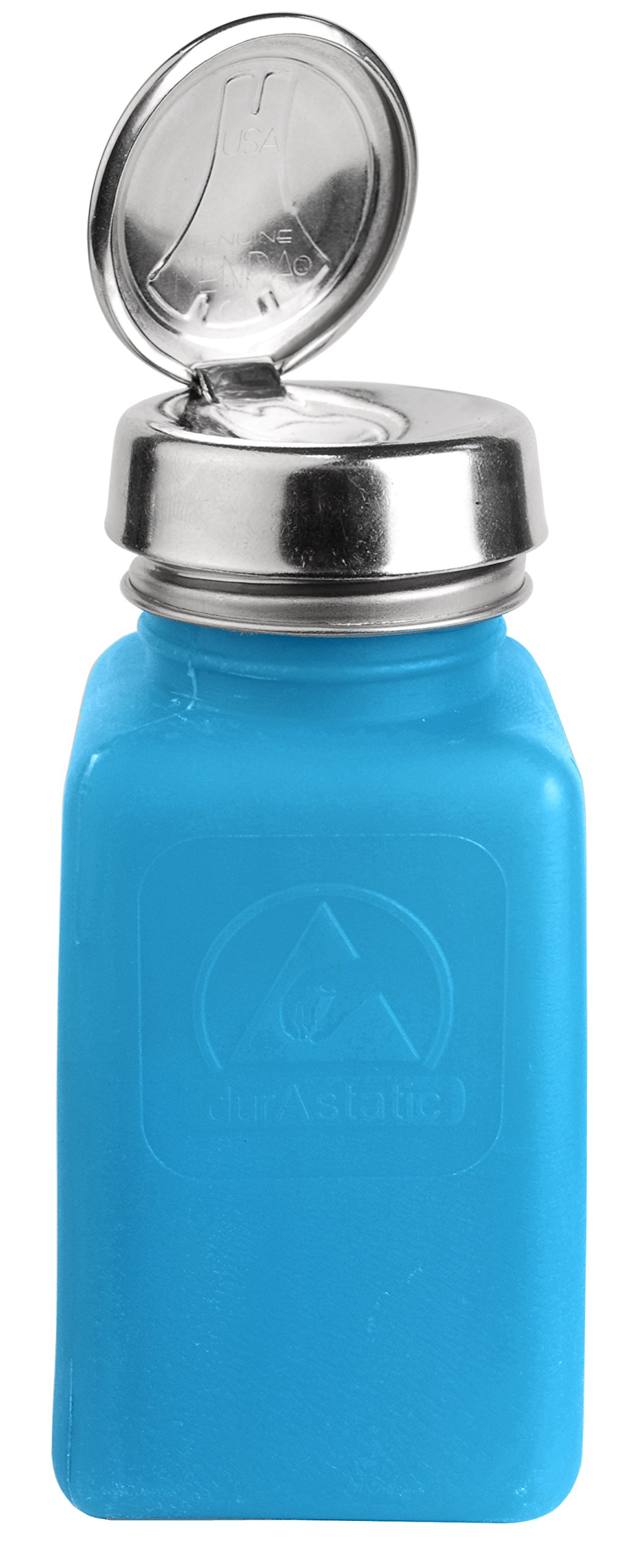 MENDA 35283 One Touch Stainless Steel Liquid Dispenser Pump, ESD Safe durAstatic Square Bottle, 6 oz, High Density Polyethylene/Stainless Steel, Blue