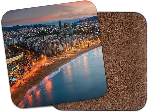 Posavasos Barcelona City Coastline – España vacaciones viaje playa mar regalo #14928: Amazon.es: Hogar