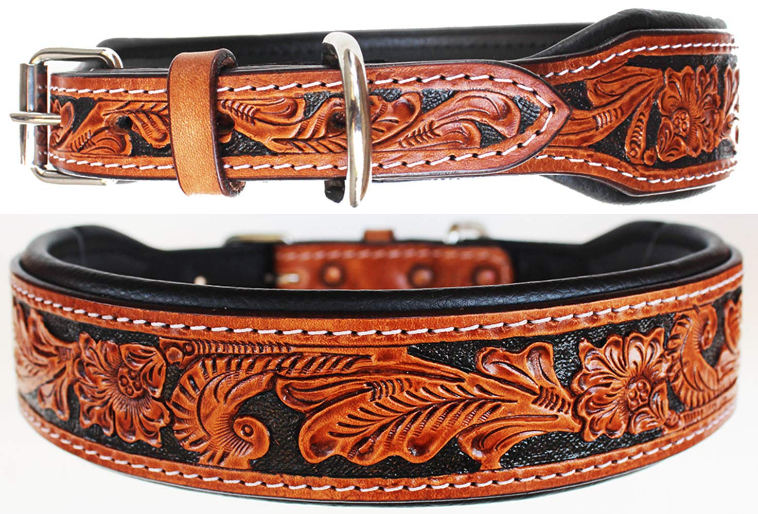 ProRider Small 13''- 17'' Puppy Dog Collar Tooled Carved 100% Cow Leather Amish 6022A by ProRider