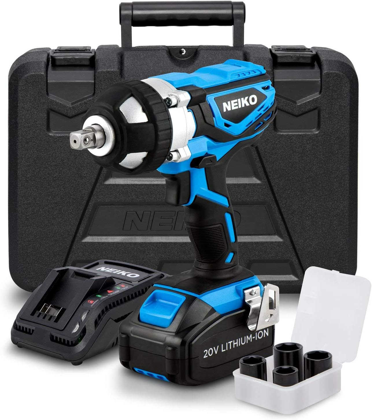 Neiko 10878A 20 V Lithium-Ion Cordless Impact Wrench with Li-Ion Battery, Fast Charger and Socket Adapters Set | 1/2-Inch Square Drive