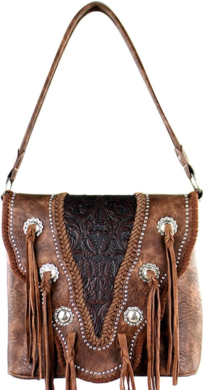 Coffee Tooled Leather Western Hobo Wallet Trinity Ranch Concealed Carry