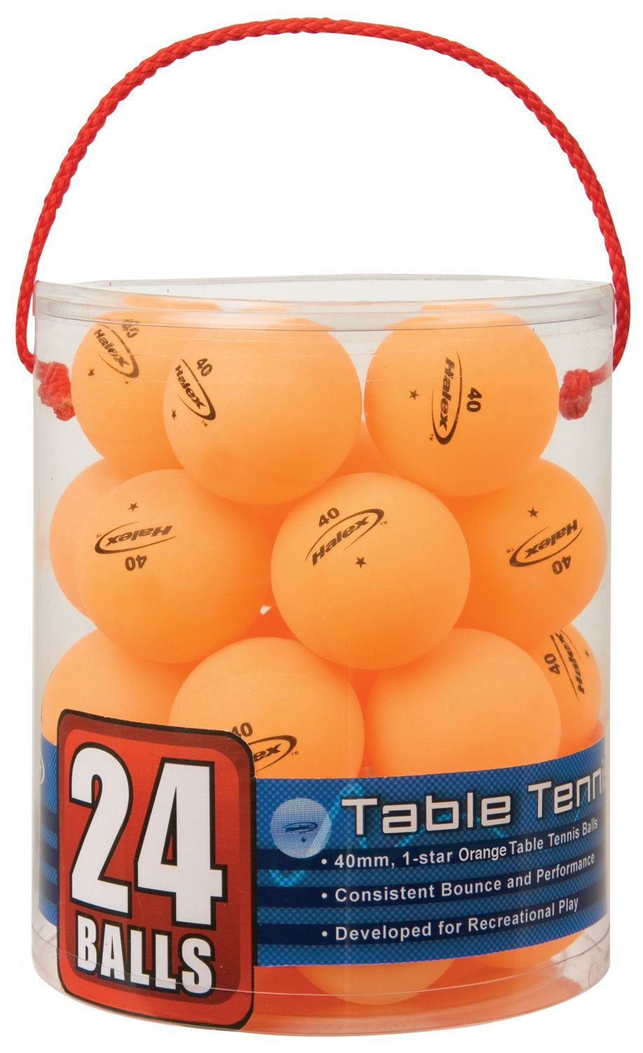 Halex 59125 Velocity 24-Count Tub of Table Tennis Balls, 1 Star (Orange)