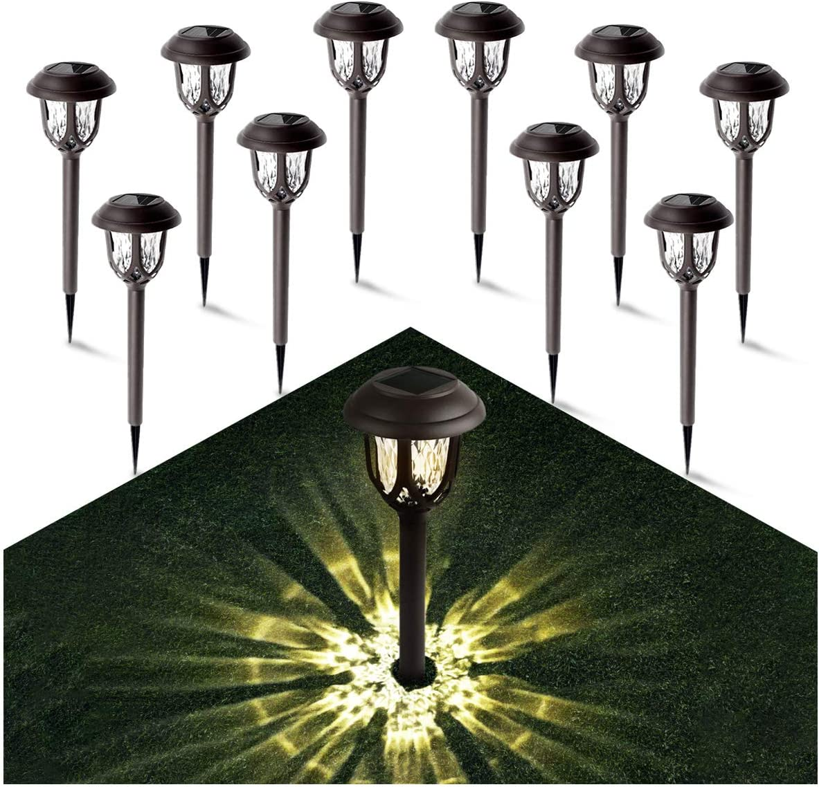 Solar Lights Outdoor Pathway - Gichies Solar Lights Outdoor Solar Graden Light Waterproof Solar Lights Outdoor for Pathway Walkway Garden Yard Landscape Patio 10 Pack (Warm White)