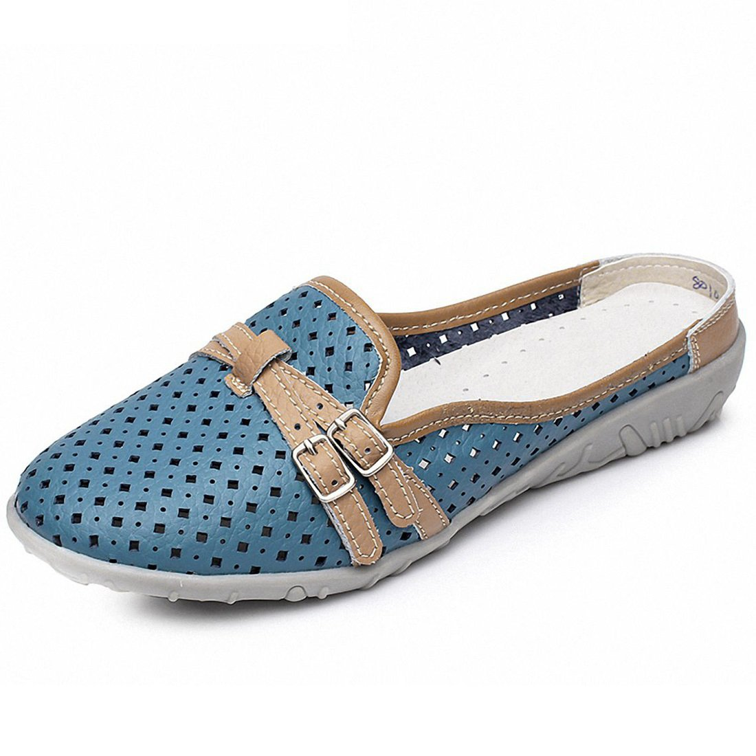 Women's Hollow Leather Backless Loafers Casual Slip On Mules Moccasins