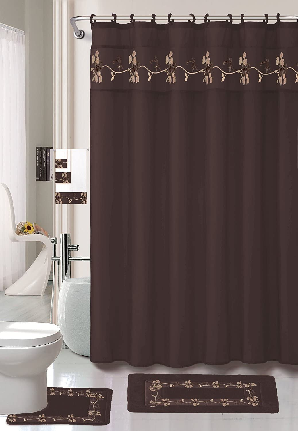 22 Piece Bath Accessory Set Beverly Chocolate Brown Bathroom Rug Set + Shower Curtain & Accessories 71aqIGNF8DL