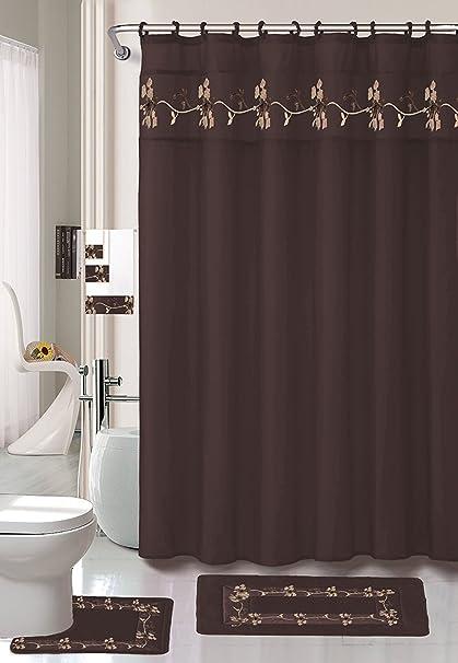 22 Piece Bath Accessory Set Beverly Chocolate Brown Bathroom Rug Set Shower Curtain Accessories Brown Bathroom Sets With Shower Curtain And Rugs And Accessories Kitchen Dining Amazon Com