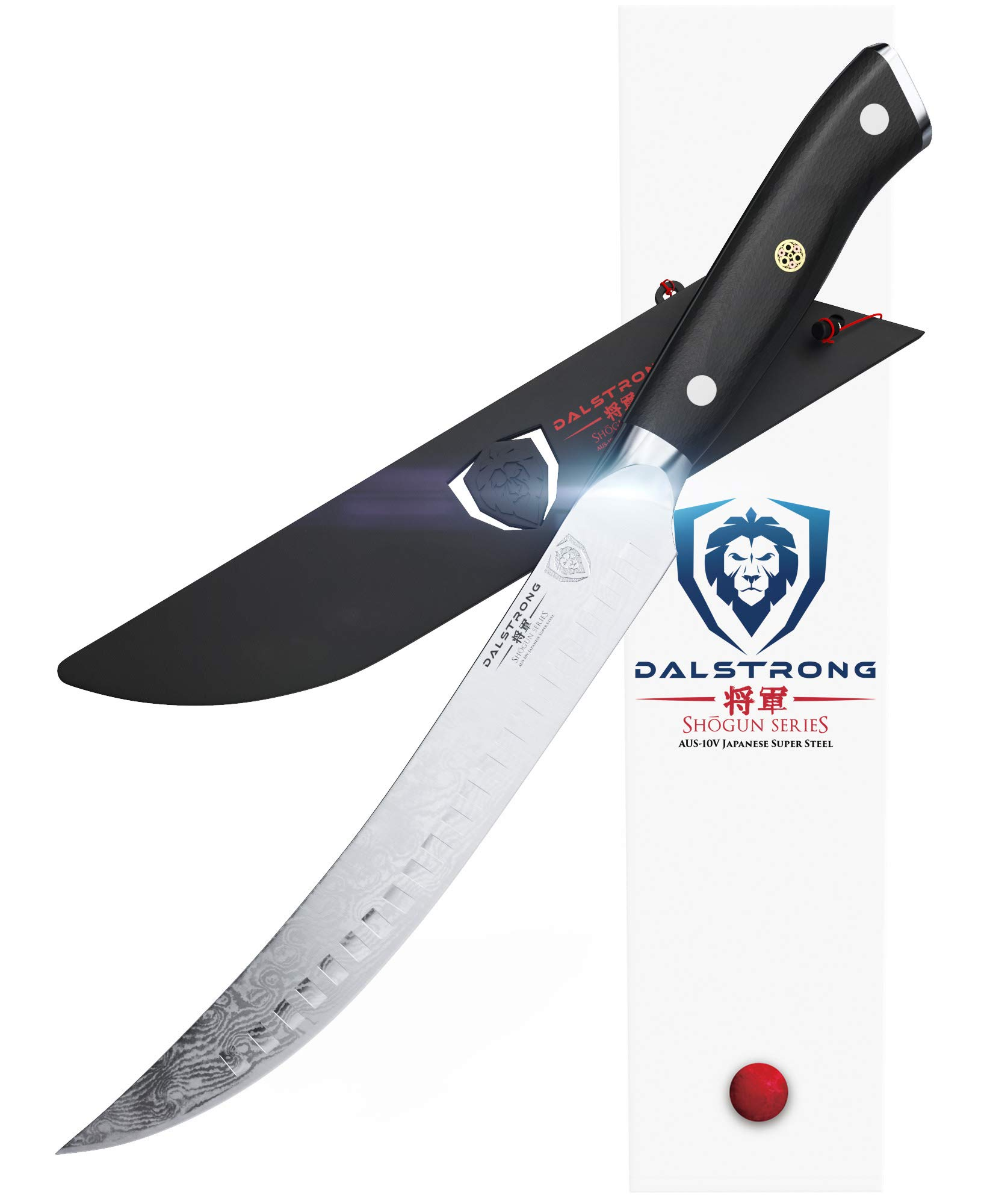 DALSTRONG Butcher's Breaking Cimitar Knife - 8'' - Shogun Series Slicer - Japanese AUS-10V Super Steel - Vacuum Treated - Guard Included by Dalstrong