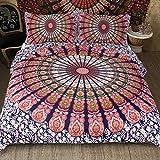 Sleepwish Boho Chic Mandala on Red White Green Bohemian Gypsy Quilt Cover Hippy Mandala Bedding for Bedroom (King)
