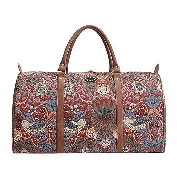 Bolsa de viaje grande de moda Signare para mujer en tela de tapiz bolsa de viaje para el fin de semana Ladrón de fresas rojo