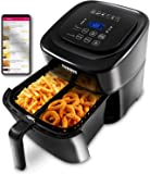 NuWave Brio 6-Quart Air Fryer with App Recipes (Black) includes basket divider, one-touch digital controls, 6 easy…