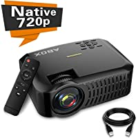 "Projector,2019 Newest ABOX A2 Native 720P Portable Home Theater LCD HD Video Projector,180"" Large Screen and Dual HiFi Speakers,Support 1080p HDMI/VGA/AV Multiple Ports (Black)"