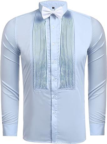 Camisa de esmoquin para hombre con puños francés y lazo, de Hasuit Azul azul claro XL: Amazon.es: Ropa y accesorios