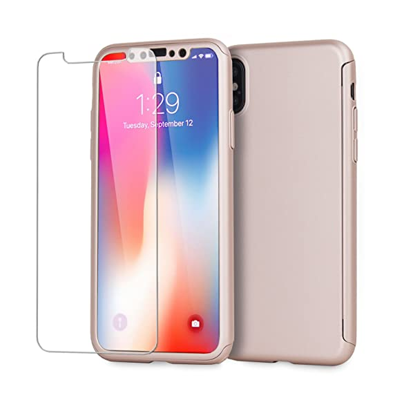 quality design 9fb5d d96a6 Olixar iPhone X Case with Screen Protector – Full Body/Full Cover 360  Degree Coverage - Tempered Glass Screen Protector X-Trio - Front + Back ...