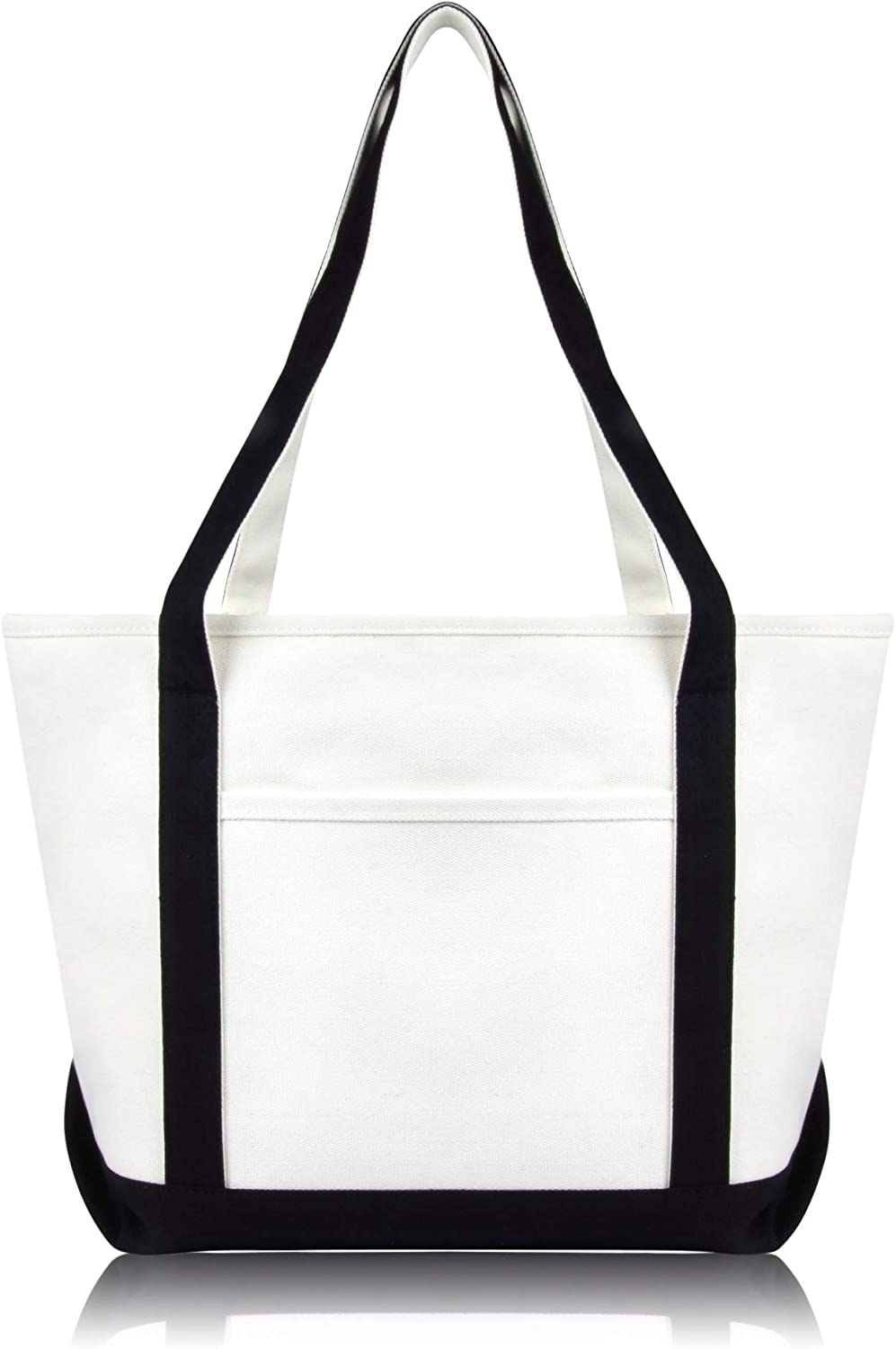 DALIX Daily Shoulder Tote Bag Premium Cotton in Black