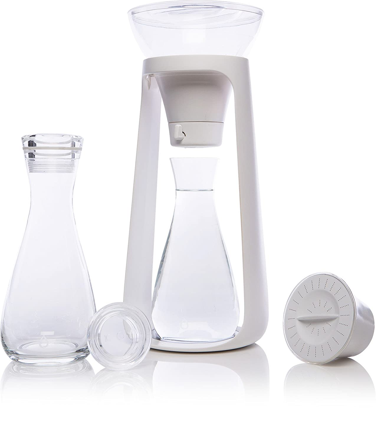 KOR Water Fall I Reusable countertop Water Filtration System I Includes 2 carafes I Holds 68 oz I Sustainable and BPA Free I Perfect for Fruit/herb infusions I Purifies 80 gallons of Water per Filter