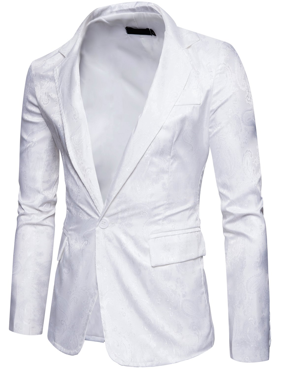 ZEROYAA Mens Hipster Slim Fit One Button Single Breasted Paisley Stylish Suit Jacket Z67- White XX-Large