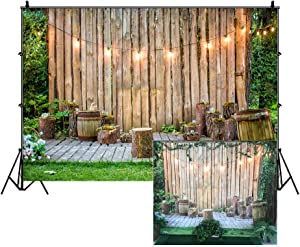 Stripes Wooden Wall Tree Stumps Outdoor Garden Backdrop 10x8ft Photography Background Shiny Lights Green Grassland Summer Holiday Party Activity Event Festival