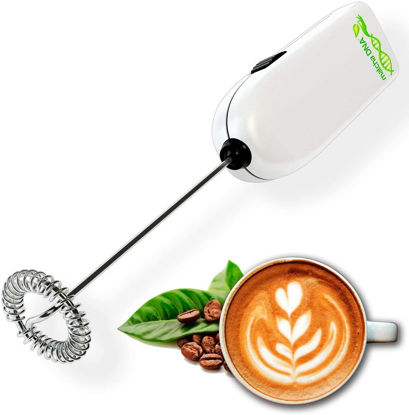 MatchaDNA Milk Frother - Handheld Battery Operated Electric Foam Maker For Bulletproof Coffee, Lattes, Cappuccino, Hot Chocolate, Sleek Drink Mixer ((Round Tip Model 2) (Silver 1 Pack)