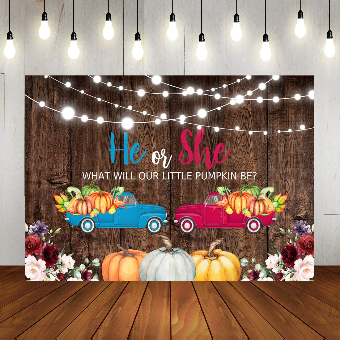 He or She Pumpkin Baby Shower Gender Reveal Backdrop Autumn Fall Pumpkin Harvest Festival Blue or Pink Car Gender Reveal Photography Background Shining Lights Watercolor Floral Brown Wooden Pregnancy by LoveInM