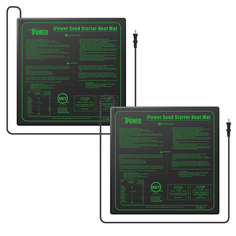 "iPower GLHTMTMX2 2-Pack Durable Waterproof Seedling Heat Mat 20"" x 20"" Warm Hydroponic Plant Germination Starting Pad, Black"