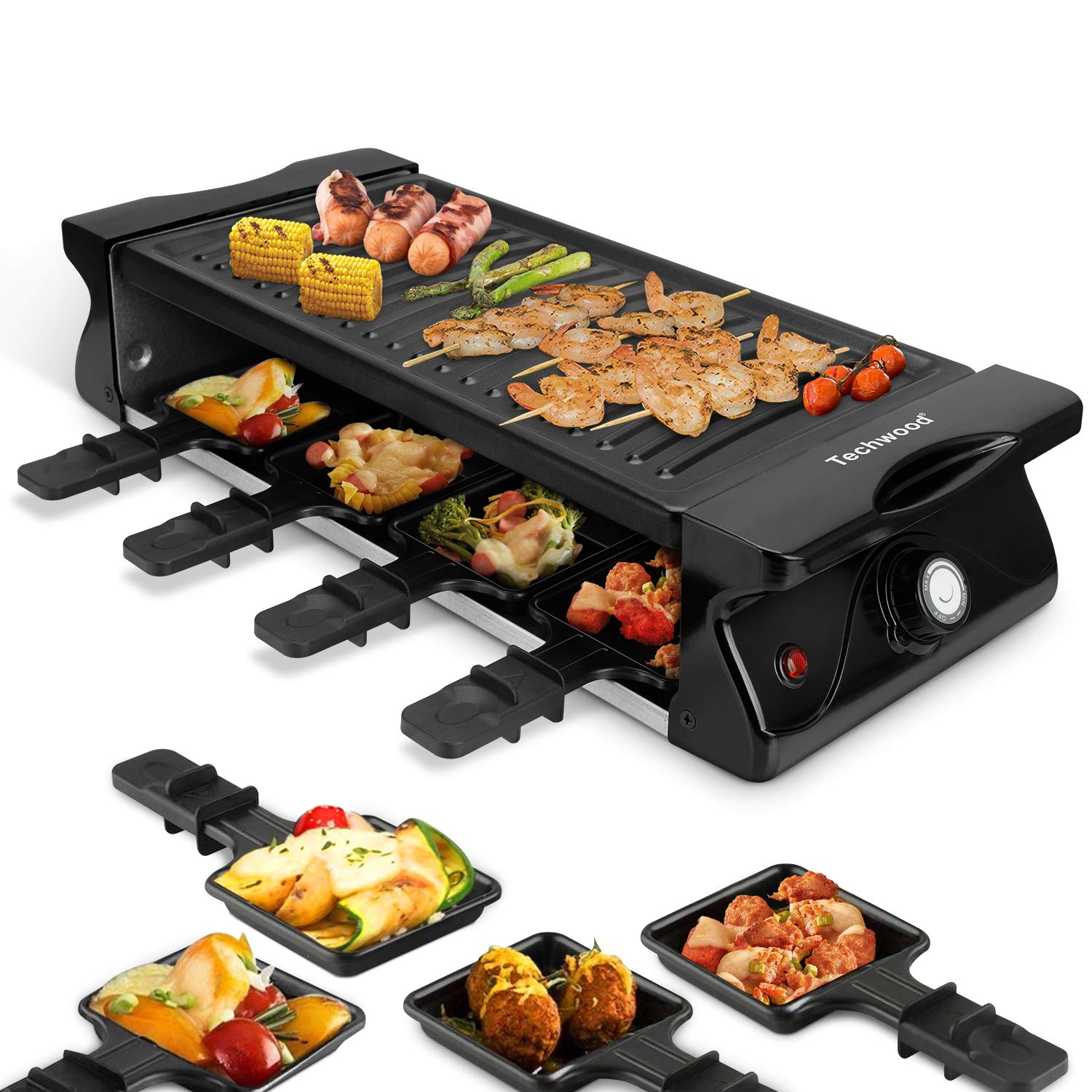 Techwood Electric Raclette Grill BBQ Grill 1500w Raclette Tabletop Grill Adjustable Temperature Control 8 Paddles Large Non-stick Grilling Surface for Raclette Party Easy Clean by Techwood