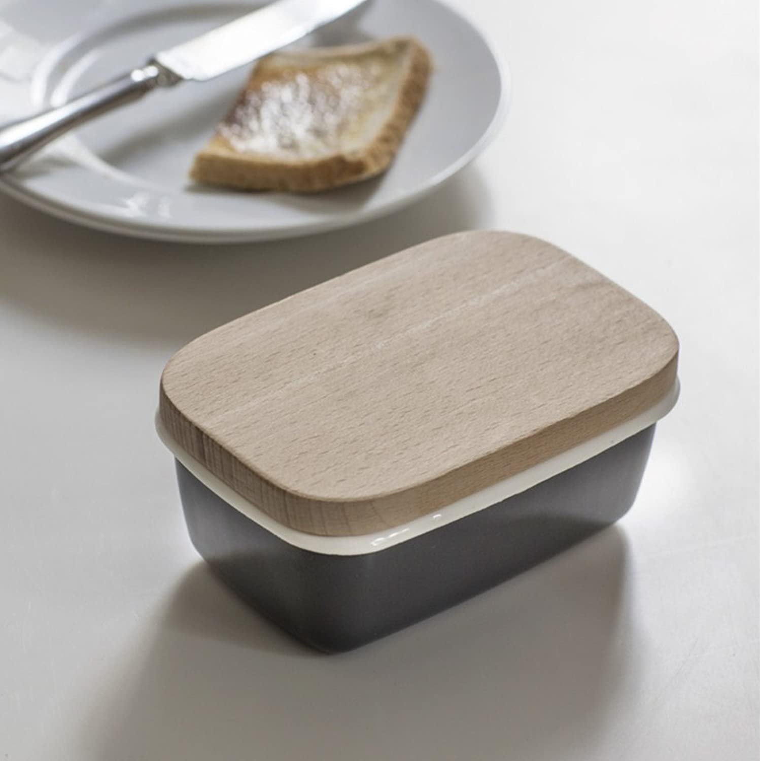 CKB LTD Traditional Butter Dish with Wooden Lid in Charcoal Holder Storage Premium Design With Beech Wood Lid and Crafted From Vitreous Enamel - Charcoal Grey