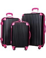 Merax Travelhouse Luggage Set 3 Piece PC+ABS Spinner Suitcase with TSA Lock