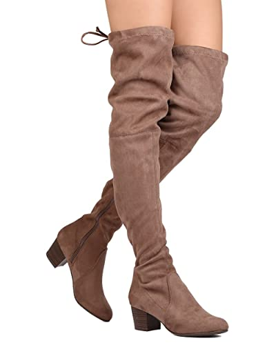 2c944114f63f Breckelle's Women Faux Suede Thigh High Drawstring Chunky Heel Boot GJ89 -  Taupe (Size: