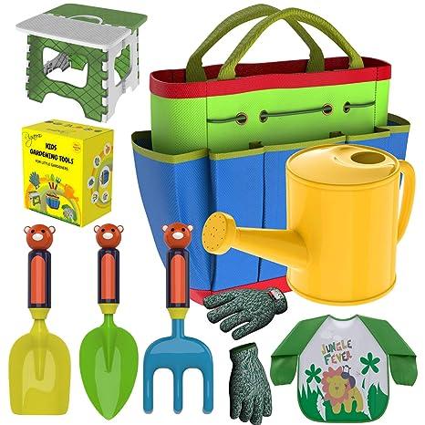 . Kids Gardening Tools Outdoor Toys Set   Garden Gloves   Smock Apron    Foldable Work Bench Stool   Backyard Outside Toys Metal Shovel Rake Trowel