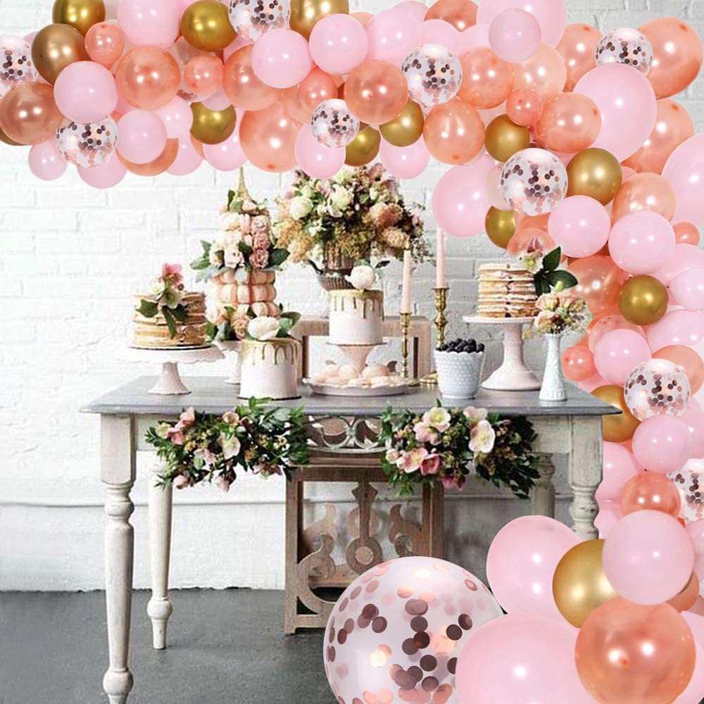 DIY Balloon Garland Kit & Balloon Arch, Party Supplies Decorations, 140Pcs Pink, Rose Gold & Confetti Balloons, Golden Ballons for Bridal & Baby Shower Birthday, Wedding, Anniversary Graduation Party