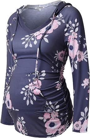 Womens Maternity Hoodie Top Sweatshirt Long Sleeve V Neck Pregnancy Tunic Top