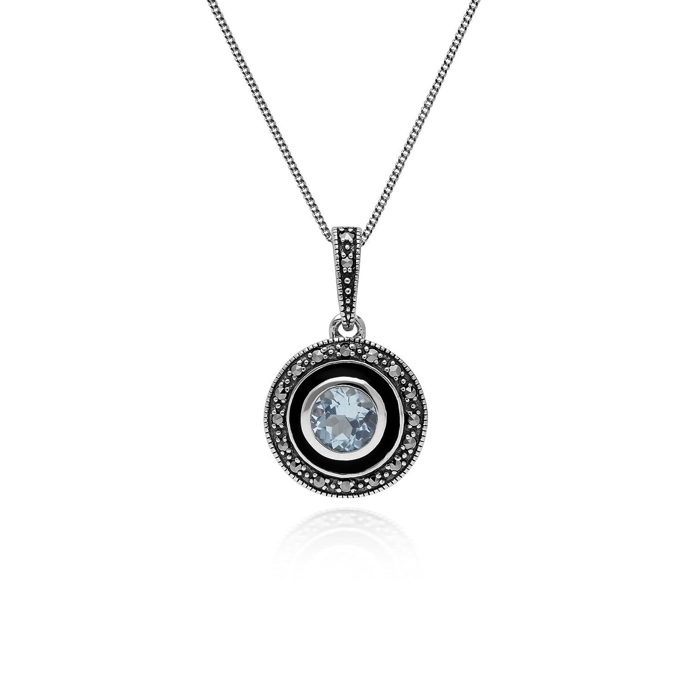 Gemondo Topaz Necklace, Sterling Silver Blue Topaz & Marcasite & Black Enamel 45cm Necklace