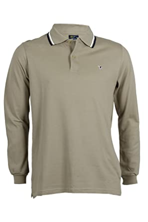 Polo de manga larga con borde beige beige L: Amazon.es: Ropa y ...