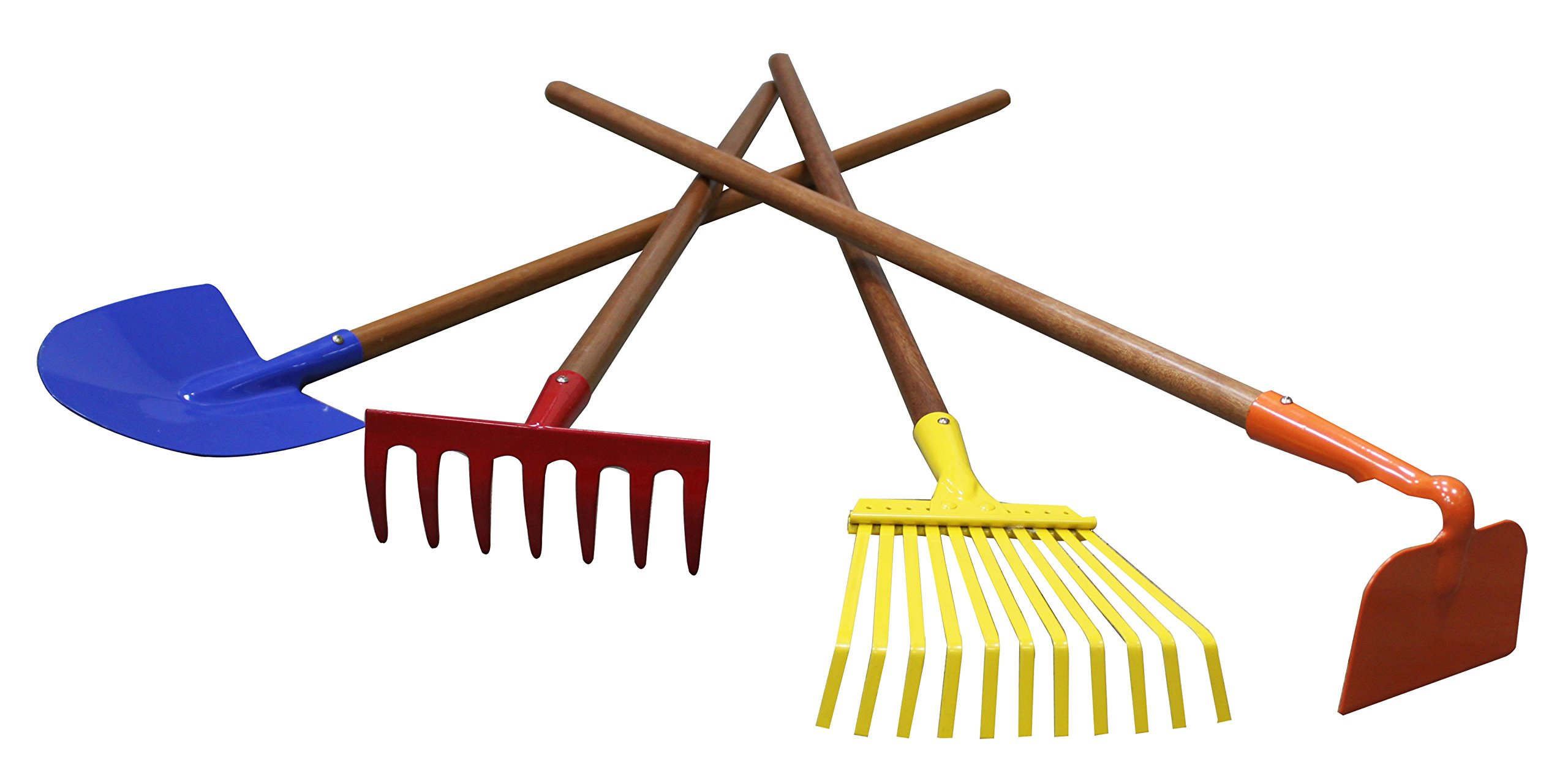 SPAI Kids Garden Tools Set, 7/8'' x 30''- Rake, Spade, Hoe and Leaf Rake, 4-Piece