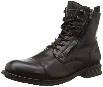 BUNKER Domin Mido Black Mens Leather Army Boots Shoes 12 zCMXa
