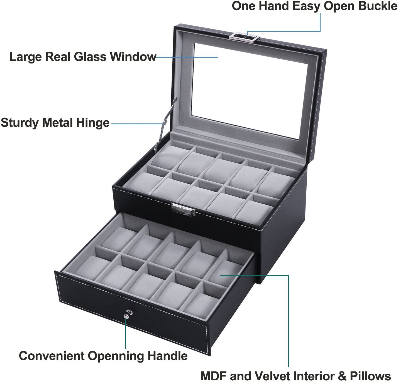 BEWISHOME Parte Superior de Cristal Grande de Piel sintética Caja ...
