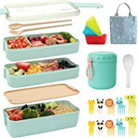 Ozazuco Bento Box for Kids Japanese Lunch Bento Box, 3-In-1 Compartment - Wheat Straw, Leakproof ,Microwave Safety,BPA…