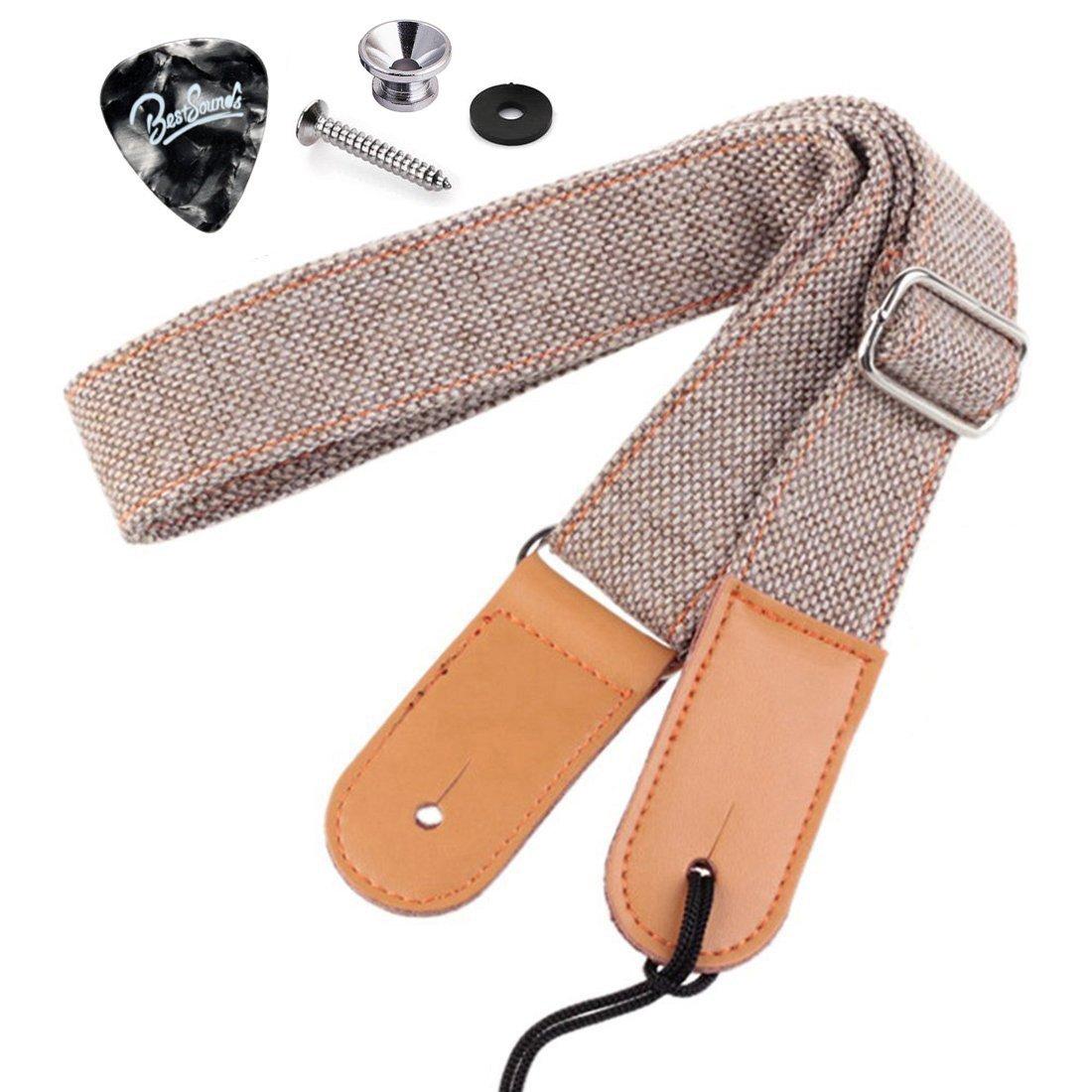 Rinastore Ukulele Strap Country Style Soft Cotton Linen & Genuine Leather Ukulele Shoulder Strap (Lt Grey-US-12)