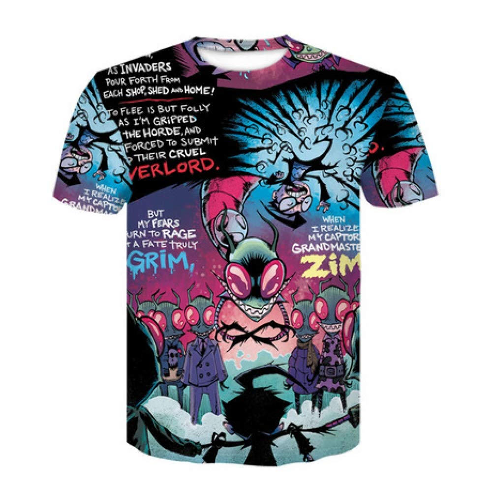 CZPF Men/'s Compression Shirt Mens Short-Sleeved Alien 3D Digital Printing European and American Loose T-Shirt