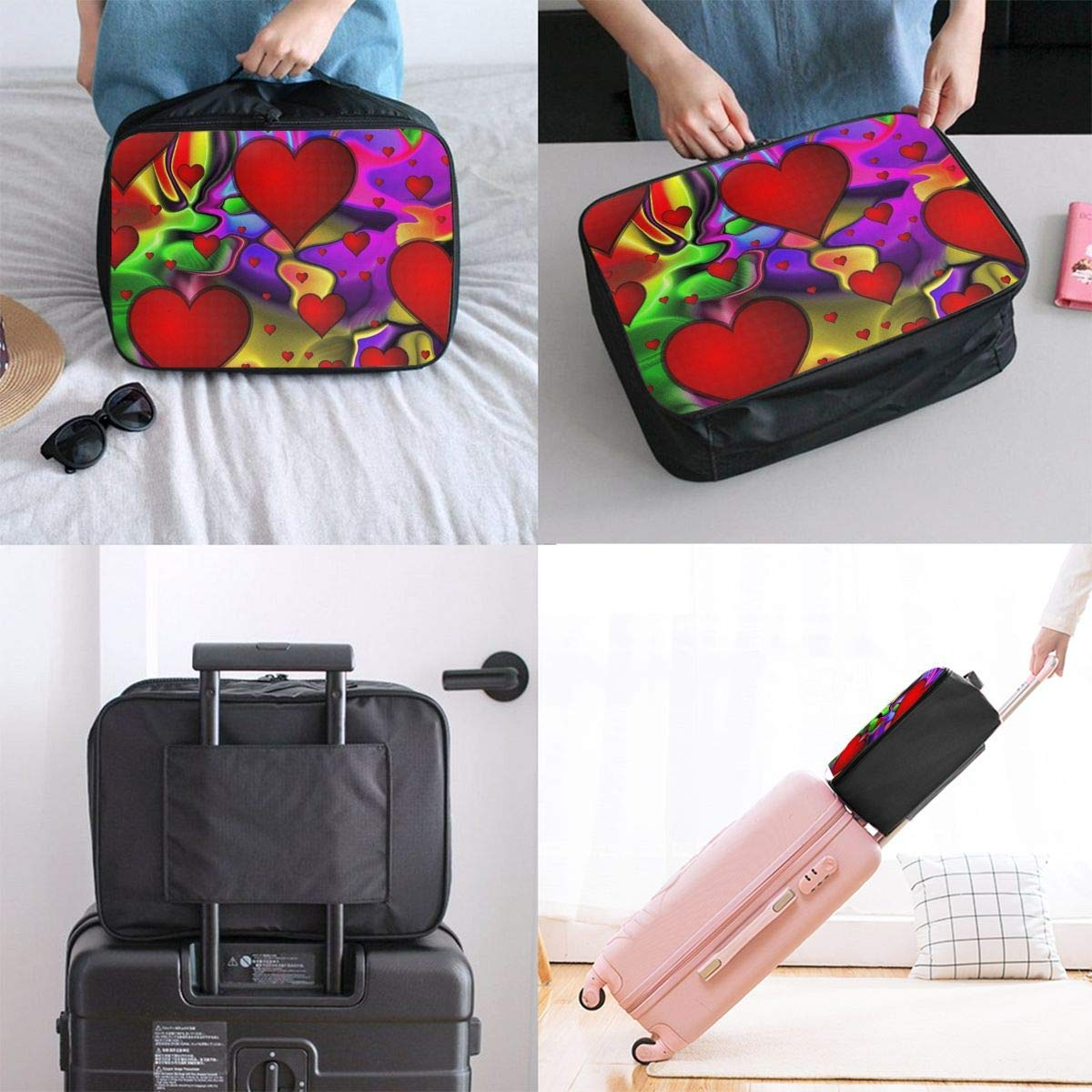 Foldable Travel Bag Travel Duffle Bag Lightweight Waterproof Travel Luggage Bag Love Colorful-abstract Paint JTRVW Luggage Bags for Travel