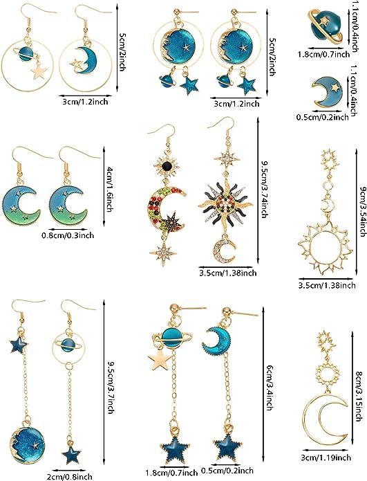 DENER Women Ladies Girls Earrings,Asymmetric Turquoise Piercing Ear Clips Stud Hoop Dangle Drop Eardrop Earrings