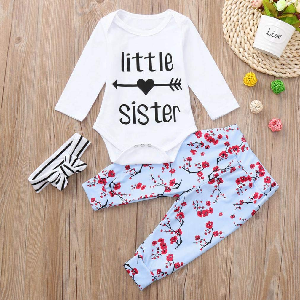Pollyhb Baby Girl Clothes Infant Baby Girls Long Sleeve Romper Floral Print Pants