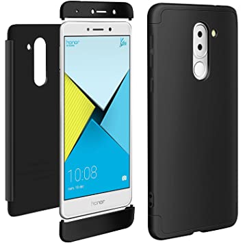 Funda Huawei Honor 6X Negro, ivencase Carcasa 3 en 1 Duro Tapa Anti-rasguños Mate PC Back Bumper Protector Anti-Scratch Integral Case Cover para ...