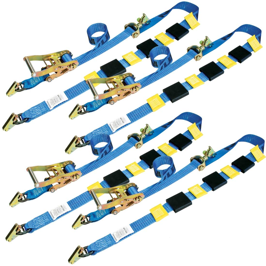 Vulcan Classic Three Cleat Auto Tie Down System with Rolling Idler and E-Track Fittings - 3300 lbs. SWL (120'' - Pack of 4)