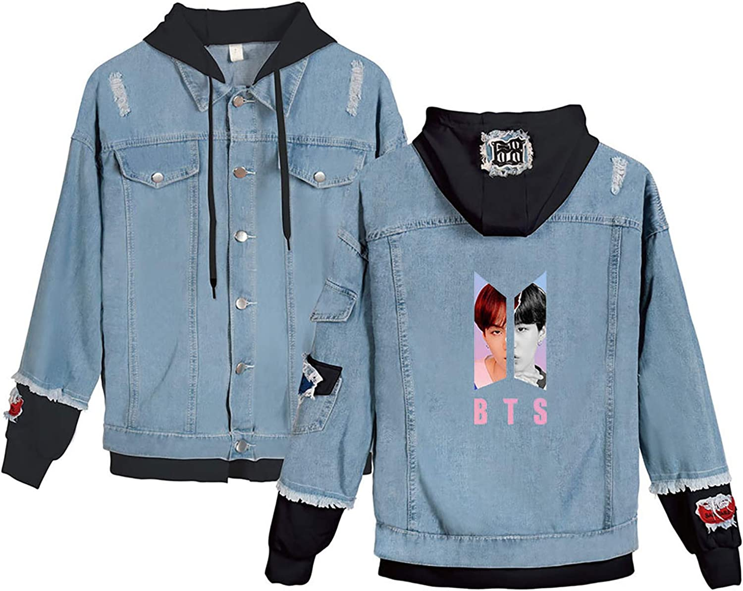 JUNG KOOK Kpop BTS Denim Jacket Love Yourself Jimin SUGA V Army Hoodie Coat Merchandise