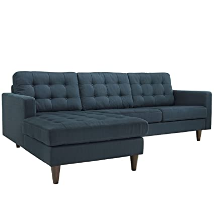 Modway Empress Mid Century Modern Upholstered Fabric Left Facing Chaise  Sectional Sofa In Azure