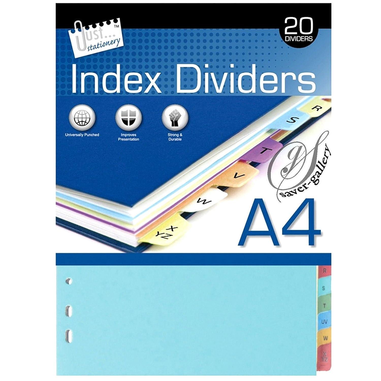 Just stationery 4 x 20 Tarjeta de A-Z, tamaño A4, archivo tema carpeta de anillas archivador de separadores: Amazon.es: Hogar